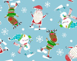 Christmas Pals - Ice Skating Toss Blue from Quilter's Palette Fabric