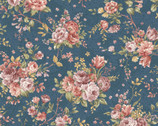Zelie Ann - Erma's Bouquet Teal by Eleanor Burns from Benartex Fabric