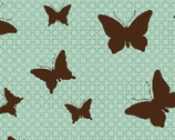 Sonora - Turquoise Butterfly Silhouette from Benartex