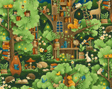 Forest Fables - Animal Village Green from Paintbrush Studio Fabrics