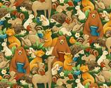 Forest Fables - Animal Allover Orange Dark Green from Paintbrush Studio Fabrics
