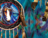 Painted Horses - Dreamcatcher Teal by Marcia Baldwin from Benartex Fabric