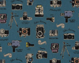 Smile - Cameras Teal CANVAS LINEN from Cosmo Fabric