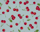 Sweet Fruits OXFORD - Cherries Light Blue from Cosmo Fabric