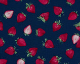 Sweet Fruits OXFORD - Strawberries Navy from Cosmo Fabric