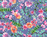 Beautiful Ride - Flowers Blue Multi from David Textiles Fabric
