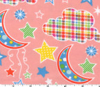 Dot Moon Stars FLANNEL Coral Pink from EE Schenck Fabric