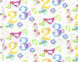 Number Birds 123 White FLANNEL from EE Schenck Fabric