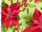 Poinsettia and Pine - Poinsettia Mixed Floral Lt Green from Maywood Studio Fabric