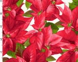Poinsettia and Pine - Packed Poinsettia Cream from Maywood Studio Fabric