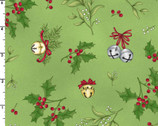 Christmas Joys FLANNEL - Holly Mistletoe Green by Kris Lammers from Maywood Studio Fabric