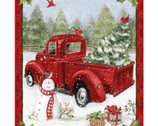 Red Truck Christmas Fun With Snowman PANEL by Susan Winget from Springs Creative Fabric