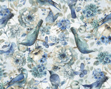 Majestic Birds - Birds Flowers Blue from David Textiles Fabric