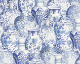 Memories From Around The World - Vases Blue from David Textiles Fabric