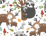 Animal Hugs - Forest Animals White from 3 Wishes Fabric