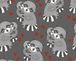 Animal Hugs - Raccoon Hearts Dark Grey from 3 Wishes Fabric