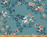 Birdsong - Bird Floral Teal Blue by Clare Therese Gray from Windham Fabrics