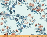 Birdsong - Bird Floral Light Blue by Clare Therese Gray from Windham Fabrics