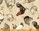 Early Bird - Chickens Tossed Tan by Whistler Studios from Windham Fabrics