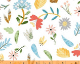 Ellie - Floral Toss White by Whistler Studios from Windham Fabrics