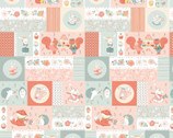 Woodland Tea Time - Patchwork Critters Aqua by Lucie Crovatto from Studie E Fabric
