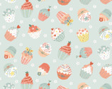 Woodland Tea Time - Tossed Cupcakes Aqua by Lucie Crovatto from Studie E Fabric