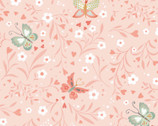 Woodland Tea Time - Floral Butterflies Pink by Lucie Crovatto from Studie E Fabric