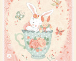 Woodland Tea Time - Bunny In TeaCup PANEL by Lucie Crovatto from Studie E Fabric