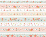 Woodland Tea Time - Novelty Stripe Aqua by Lucie Crovatto from Studie E Fabric