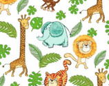 Playful Cuties FLANNEL - Safari Animals White from 3 Wishes Fabric