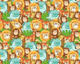 Playful Cuties FLANNEL - Packed Animals Multi from 3 Wishes Fabric