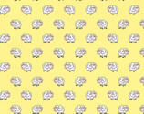 Playful Cuties FLANNEL - Sheep Yellow from 3 Wishes Fabric