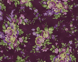 Aubergine - Elegant Floral Deep Purple by Debbie Beaves from Maywood Studio Fabric