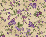 Aubergine - Trailing Flowers Antique Tan by Debbie Beaves from Maywood Studio Fabric