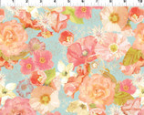 Believe - Floral Poppies Aqua Blue from In The Beginning Fabric