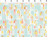 Believe - Houses Aqua Blue from In The Beginning Fabric