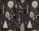 Lecre Fall CANVAS - Forest Cat Charcoal from Lecien Fabric
