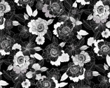Midnight Pearl - Pearlescent Blooms Black by Kanvas from Benartex Fabric