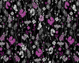 Midnight Pearl - Pearlescent Garden Black Berry by Kanvas from Benartex Fabric