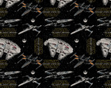 Star Wars Refresh FLEECE - Heroes Ships Black from Camelot Fabrics