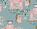 Imperial Garden - Teahouse Garden Blue Pink by Teresa Chan from Paintbrush Studio Fabrics