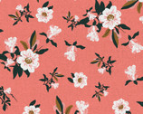 Imperial Garden - Flower Blossoms Coral by Teresa Chan from Paintbrush Studio Fabrics