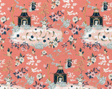 Imperial Garden - Scenic Coral by Teresa Chan from Paintbrush Studio Fabrics