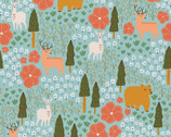 Vintage Camping - Meadow Animal Flowers Light Blue by Crissy Rodda from Paintbrush Studio Fabrics