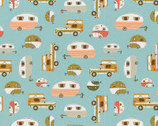 Vintage Camping - Campers Trailers Transportation Blue by Crissy Rodda from Paintbrush Studio Fabrics