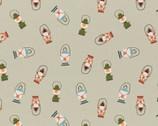 Vintage Camping - Camp Lanterns Sage by Crissy Rodda from Paintbrush Studio Fabrics