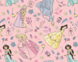 Disney Princess FLANNEL - Princess Toss Pink from Camelot Fabrics