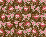 Windsor Park - Packed Roses Brown Pink from Henry Glass Fabric