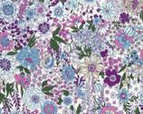 Memoire a Paris LAWN - Floral Purple from Lecien Fabric