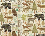 Live Love Lodge - Animals Text Cream Brown from David Textiles Fabrics